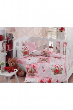 طقم غطاء سرير بيبي بناتي وردي مع رسمة