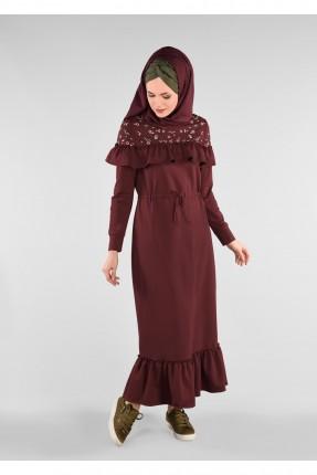 فستان سبور مع كشكش - خمري