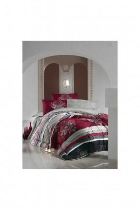 طقم لحاف سرير مزدوج - احمر قاتم