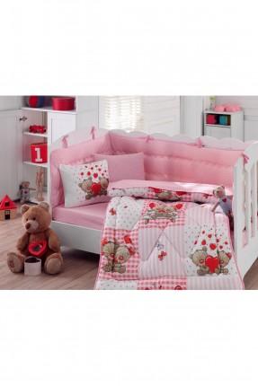 طقم لحاف سرير بيبي بناتي مع رسمة
