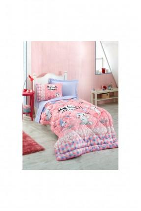 طقم لحاف سرير اطفال بناتي مع رسمة - وردي