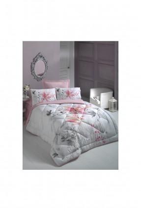 طقم لحاف سرير مزدوج - وردي