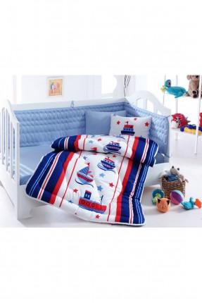 طقم لحاف سرير بيبي ولادي - ازرق