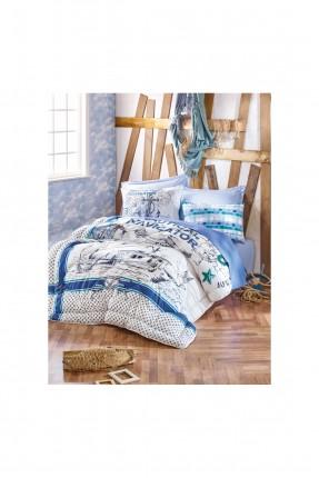 طقم لحاف سرير مفرد  مع رسمة قارب
