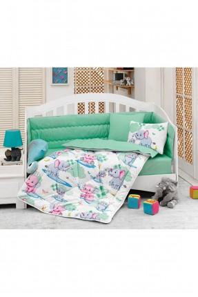 طقم لحاف سرير بيبي مع رسمة فيلة