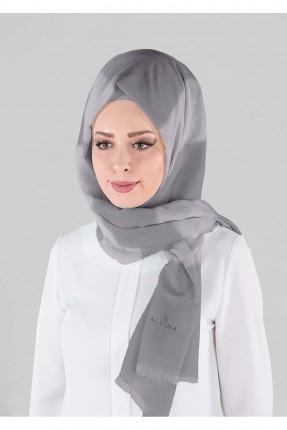 حجاب تركي مقلم - رمادي