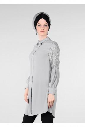 قميص نسائي سبور مزين دانتيل - رمادي