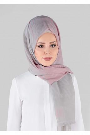 حجاب تركي سبور - رمادي و وردي