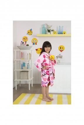 برنص حمام اطفال بناتي - وردي