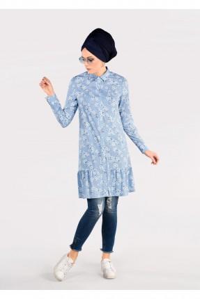 قميص نسائي سبور مزهر - ازرق