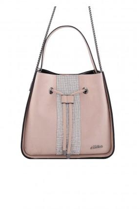 حقيبة يد نسائية  مع حزام زم - وردي