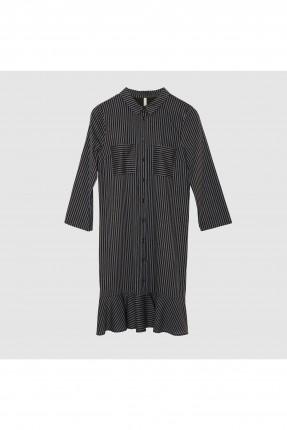 فستان سبور مقلم مع كشكش