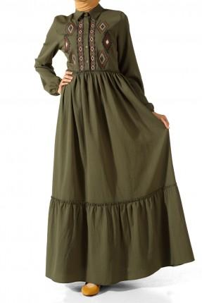 فستان سبور طويل مطرز للمحجبات