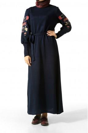 فستان سبور كم طويل مطرز مناسب للمحجبات