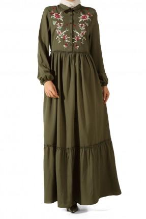 فستان سبور مطرز ورد للمحجبات