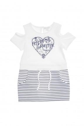 فستان اطفال بناتي مقلم  - ابيض