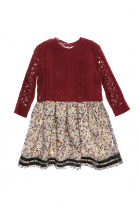 فستان اطفال بناتي - احمر داكن