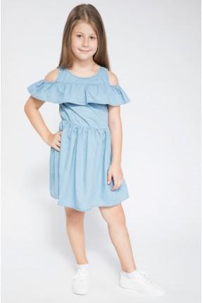 فستان اطفال بناتي مع كشكش - ازرق