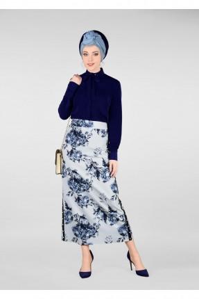 تنورة طويلة للمحجبات موردة - ازرق