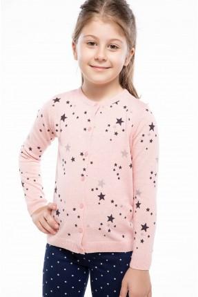 جاكيت اطفال بناتي منقش نجوم - وردي