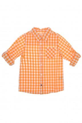 قميص اطفال ولادي كاروه - برتقالي