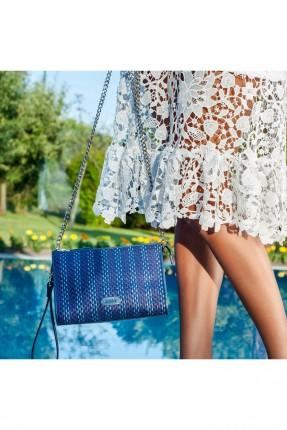 حقيبة يد نسائية جلد - ازرق داكن