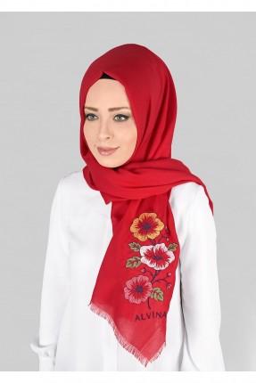 حجاب تركي مع رسمة ورد - احمر