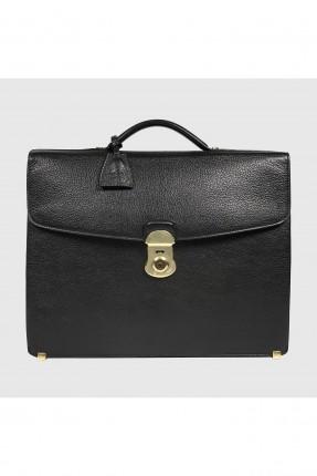 حقيبة اوراق رجالية جلد - اسود