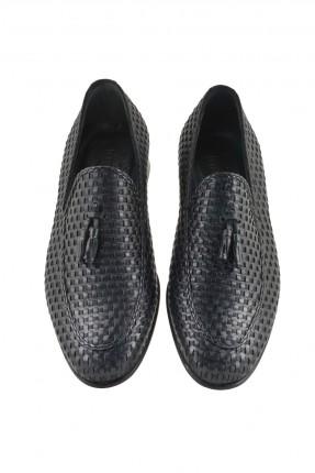 حذاء جلد رجالي - اسود