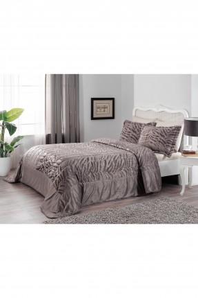غطاء سرير مزدوج -بني