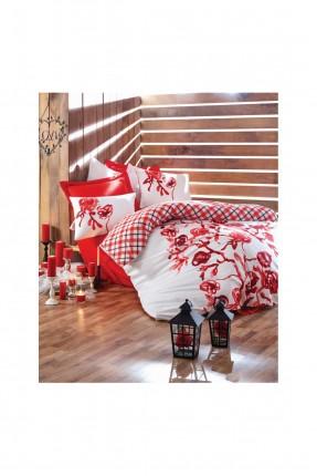 طقم غطاء سرير مزدوج مورد - احمر