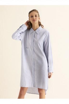 قميص نسائي مقلم كم طويل