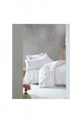 طقم غطاء سرير مزدوج - ابيض