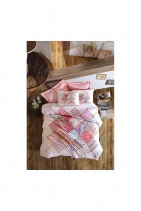 طقم غطاء سرير مزدوج - رسمة مربعات