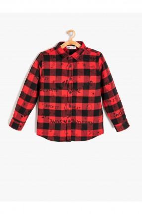 قميص اطفال ولادي كارو - احمر