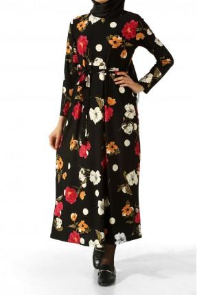 فستان سبور طويل مورد - اسود