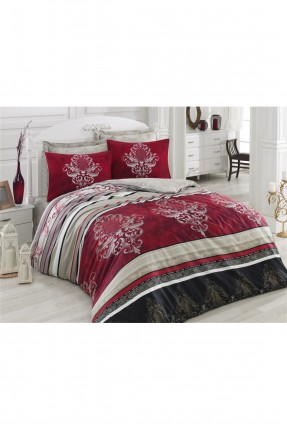 طقم غطاء سرير مزدوج - احمر داكن