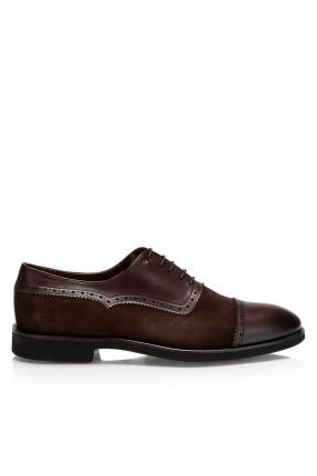 حذاء رجالي رسمي مع رباط -  بني