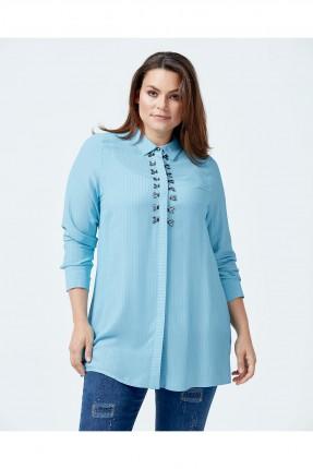 قميص نسائي اكمام طويلة - ازرق