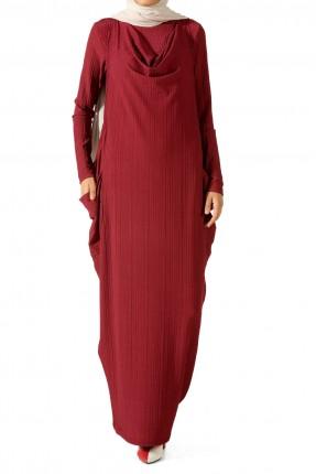 طقم نسائي كاجوال بلوزة مع فستان - احمر