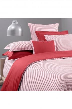 طقم غطاء سرير مزدوج مخطط - احمر