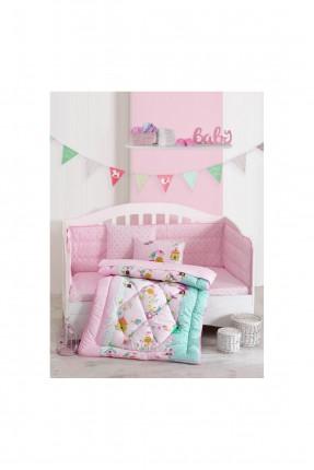 طقم لحاف سرير بيبي بناتي مع رسومات