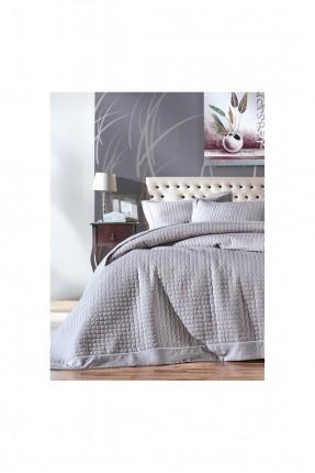 طقم غطاء سرير فردي - رمادي