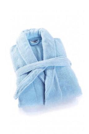 برنص حمام مع حزام - ازرق