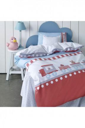 طقم غطاء سرير بيبي ولادي - رسمة قطار