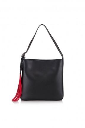 حقيبة يد نسائية مزينة بكشكش - اسود