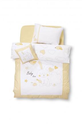 طقم غطاء سرير بيبي - اصفر