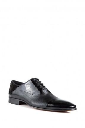 حذاء رجالي جلد مع رباطات - اسود