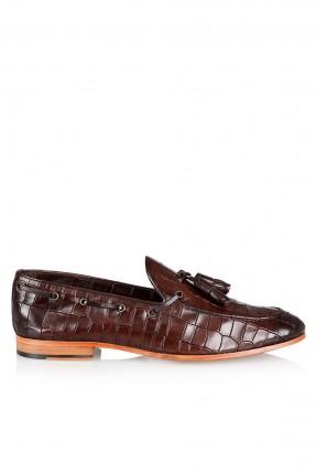 حذاء رجالي رسمي مزين بكشكش - بني