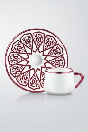 طقم قهوة 6 اشخاص - مزخرف خمري
